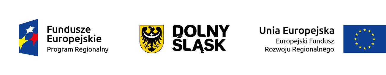 Loga: Funduszy europejskiej, Dolnego Śląska i flaga Unii europejskiej